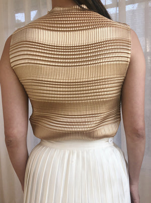 1980s Gold Micro Pleated Top - S/M