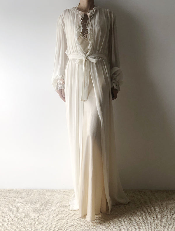 1930s Chiffon and Lace Dressing Gown - S/M