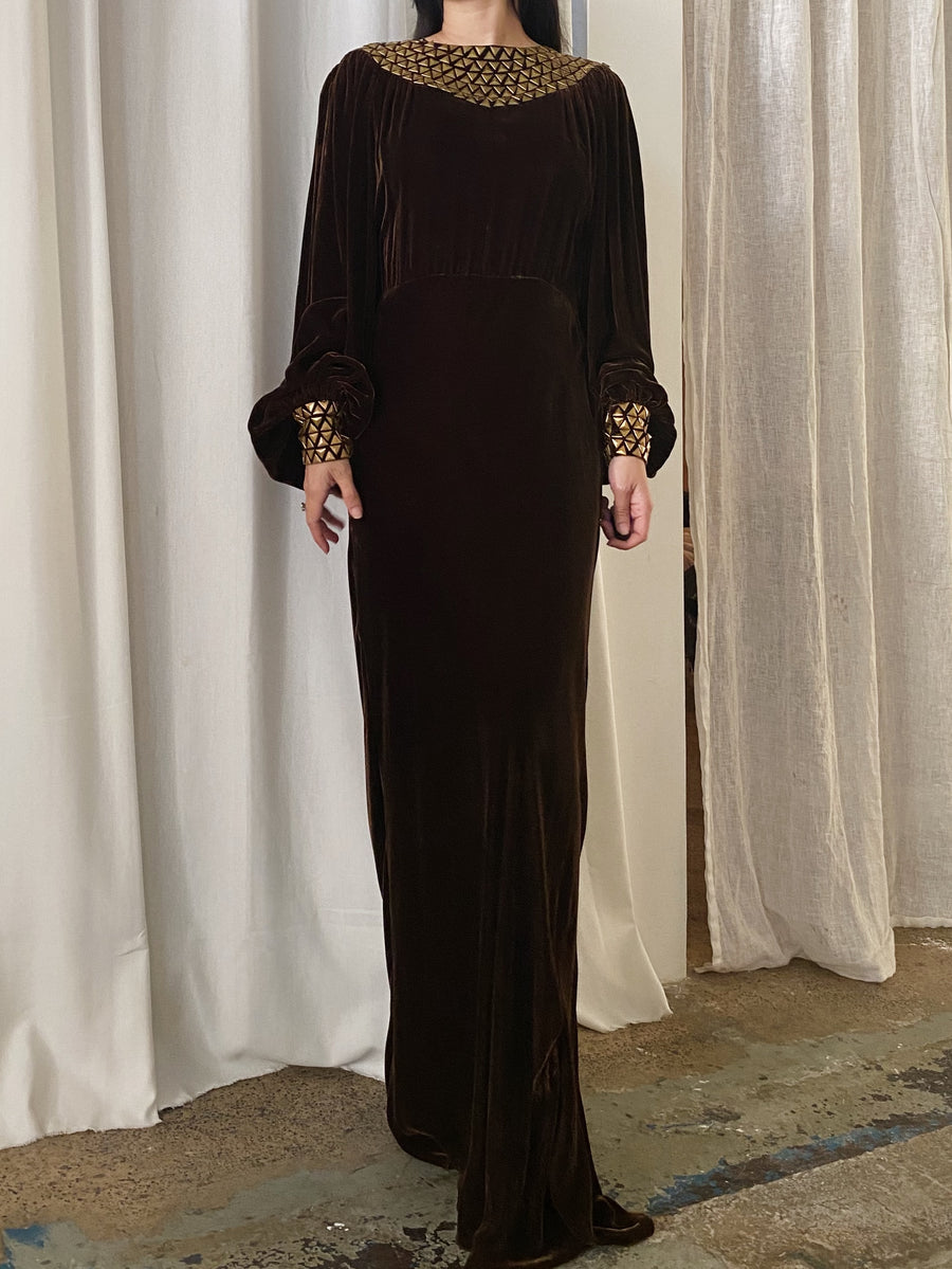 1930s Chocolate Silk Velvet Poet Sleeves Gown - S/M