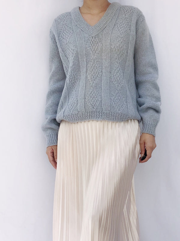 Vintage Baby Blue Wool Sweater - S/M
