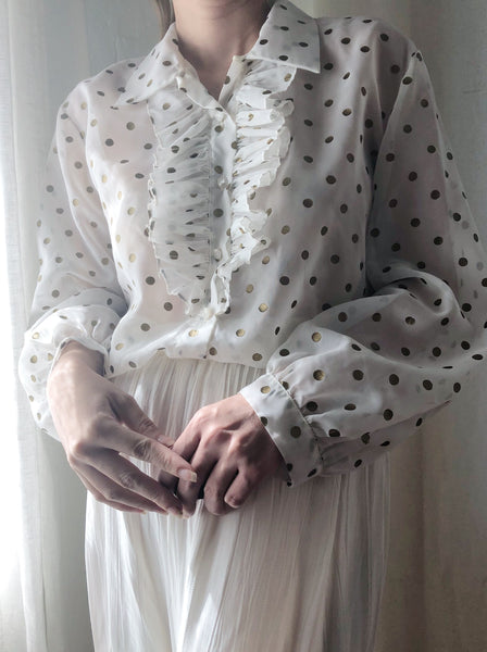 1950s Ivory Nylon Dotted Blouse - S/M
