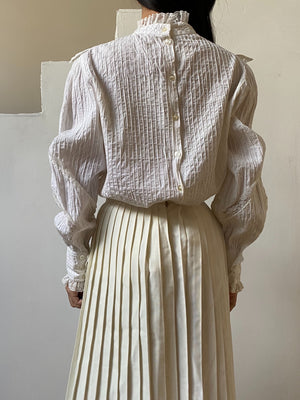 Vintage Cotton Pintucked Top - S/M