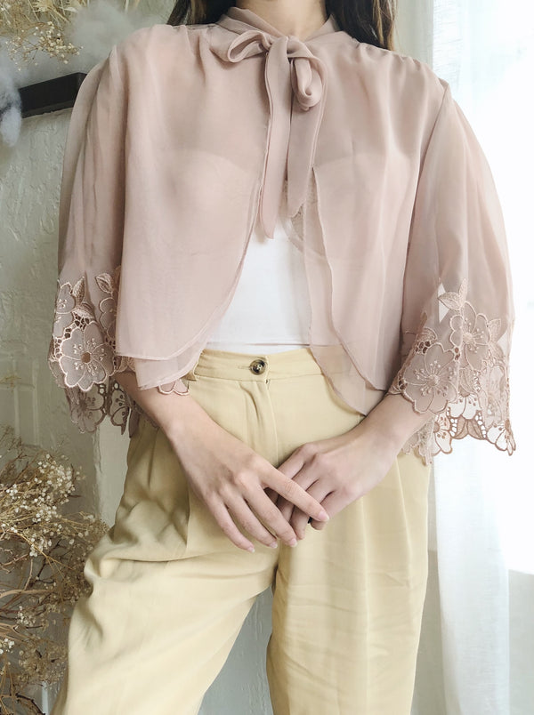Vintage Taupe Sheer Chiffon Top - M