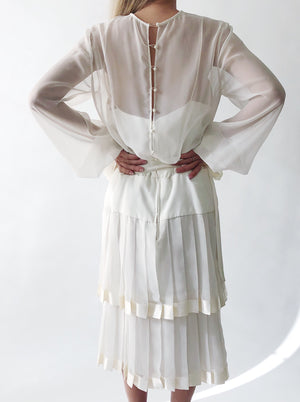 1980s Pleated Chiffon Dress - M