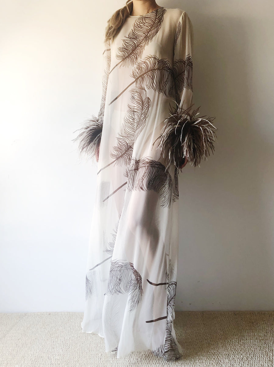 1960s Sheer Chiffon Feather Dress - S/M
