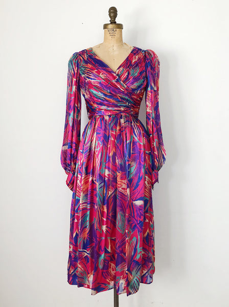 1970s Silk Abstract Print Poet Sleeves Dress - XS/S
