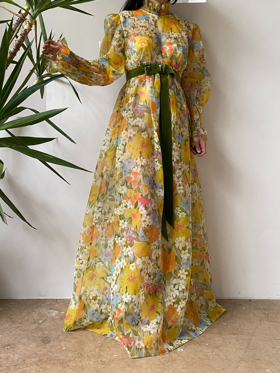 1970s Puff Sleeve Floral Voile Dress - M