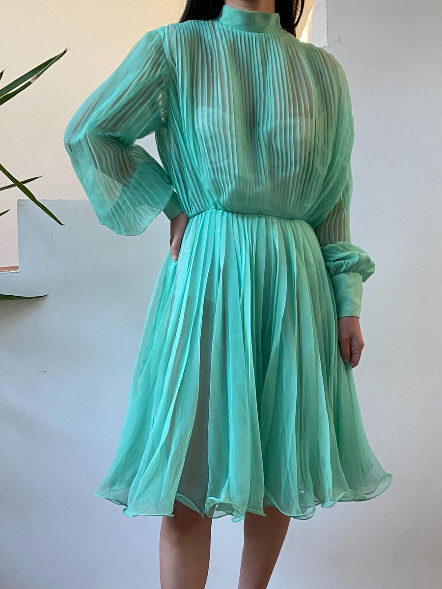 1960s Sheer Cyan Pleated Chiffon Dress - M