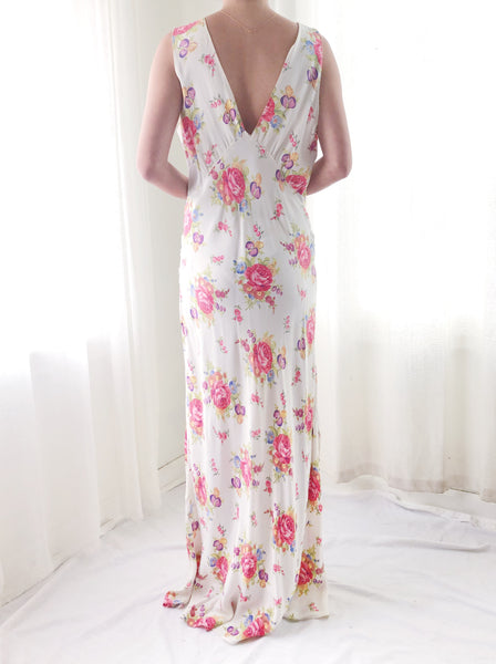 1930s Bias Cut Floral Gown  - M
