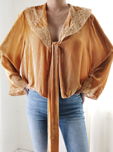 1930s Peach Silk Velvet Top/Jacket - One Size