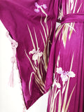 Antique Silk Embroidered Purple Kimono with Sash - One Size
