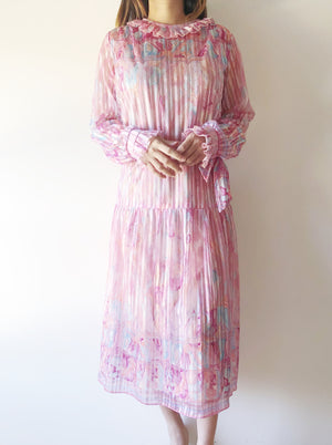 1980s Pink Abstract Print Dress - S