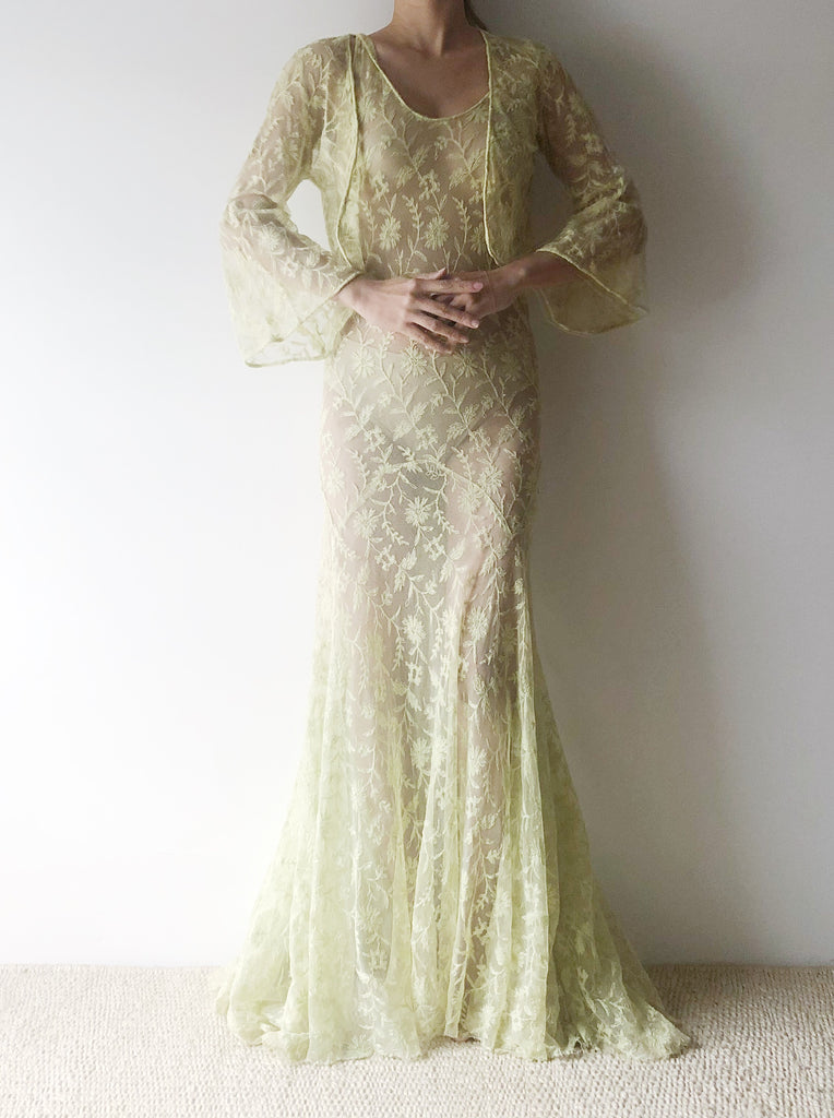 1930s Chartreuse Needle Lace Dress With Jacket Xss