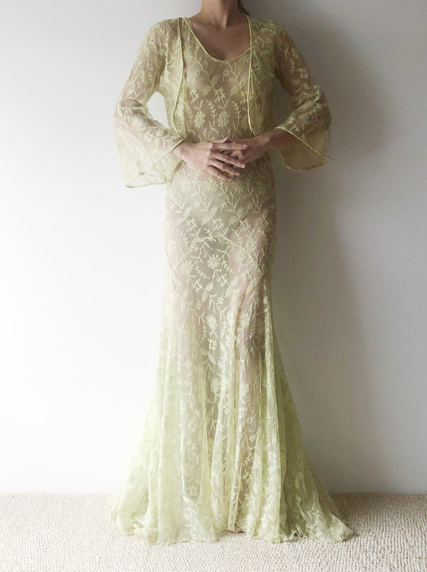 1930s Chartreuse Needle Lace Dress with Jacket  - XS/S