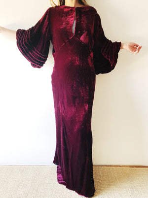 RESERVED 1930s Cranberry Silk Velvet Bias Cut Gown - S/M