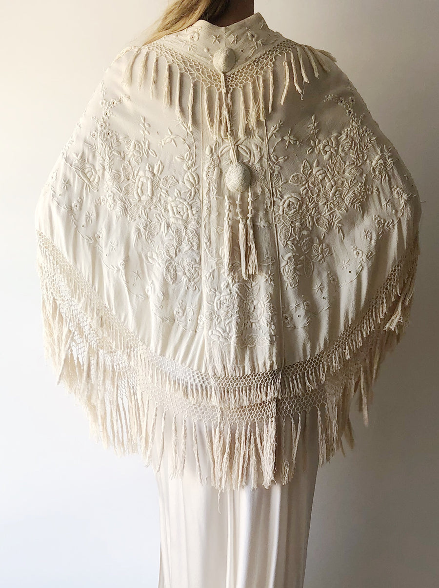 Silk Embroidered Capelet - One Size