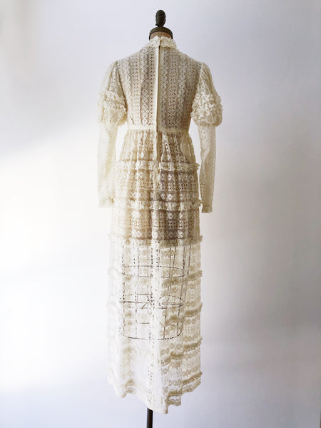 1970s Bohemian Puff Sleeves Lace Dress - S