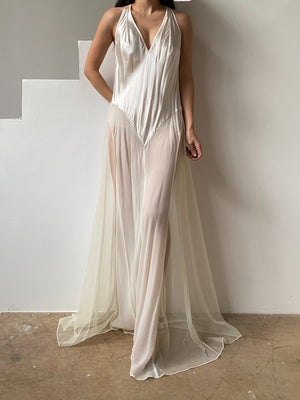 Y2K Silk Chiffon and Charmeuse Slip Dress - M