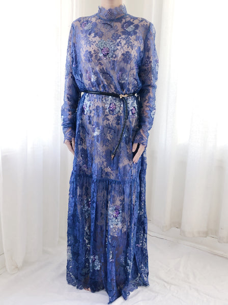 1980s Royal Blue Sheer Silk Lace Dress - M/L