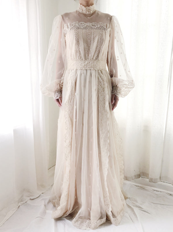 Vintage Needle Lace Wedding Gown - S