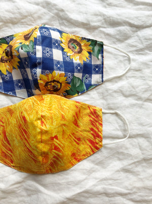 2-in-1 Reversible Sunflower Face Mask with Filter Slot
