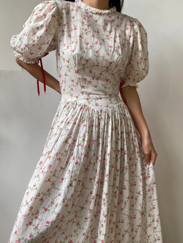 1930s Puff Sleeves Cotton Floral Print Gown -S