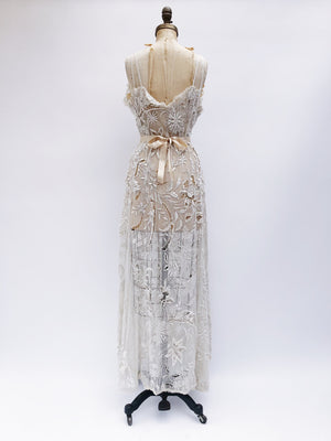RESERVED 1930s Sleeveless French Knot Gown - S/M