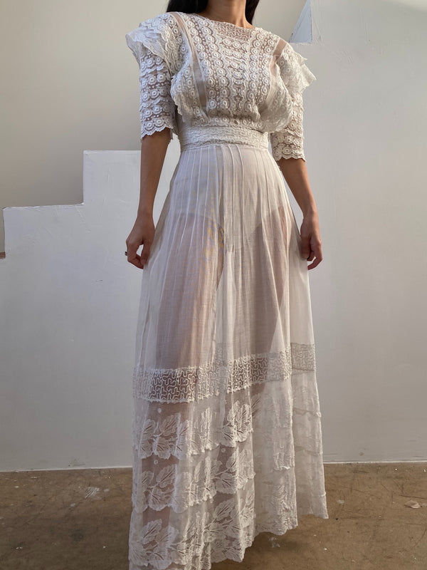 Antique Whitework Embroidered Lace Gauze Dress - XS