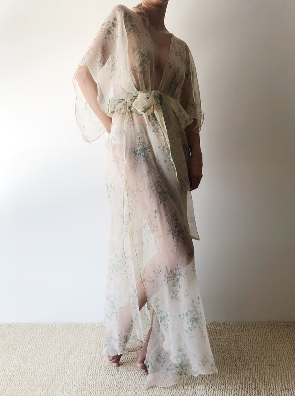 1960s Floral Chiffon Duster - One Size