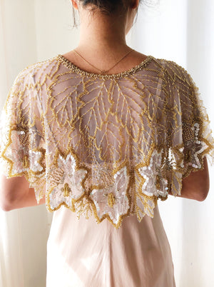 Vintage Gold Beaded Capelet - One Size