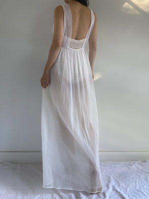 1950s Sheer Pleated Slip Gown - S