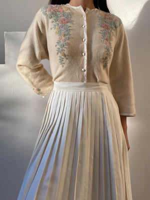 Rare 1950s Angora/Wool Beaded Cardigan - S/M