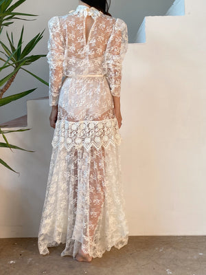 1980s Sheer Lace Gown - S/M