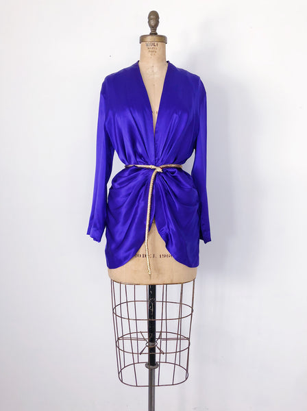 1990s Royal Blue Pleated Waist Silk Jacket/Mini - S