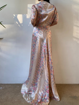 1940s Satin Floral Dressing Robe - M