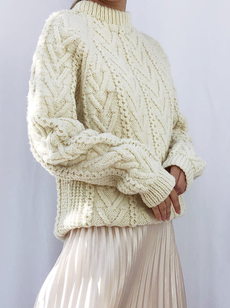 Vintage Wool Cable Knit Sweater - S/M
