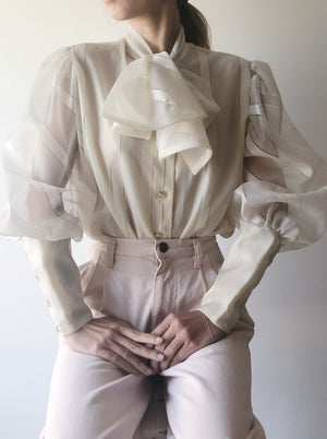 Vintage Mutton Sleeves Top Bow Neck Top - S/M