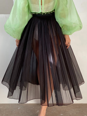 1950s Pleated Sheer Skirt - M/L