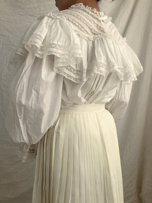Antique Cotton Puff Sleeve Top - XS/S