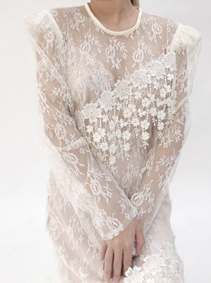 1980s Sheer Lace Dress - M