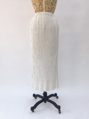 1980s Ivory Pleated Skirt - M/L