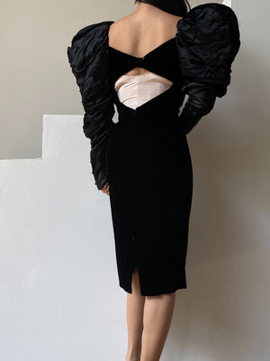 Vintage Velvet/Satin Mutton Sleeve Wiggle Dress - M