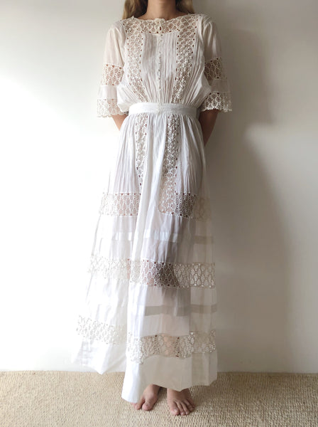 Edwardian Cotton and Lace Dress - XS