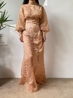 Vintage Sheer Puff Sleeve Burnout Gown - M/L