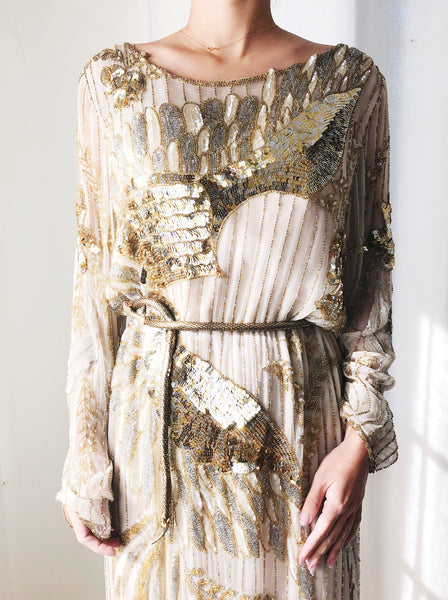 1980s Gold and Nude Phoenix Silk Beaded Dress - S/M