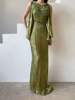 1930s Green Silk Lamé Gown - S/M