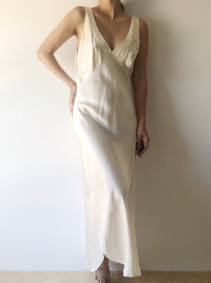 1980s Ivory Silk Bias Slip Dress - S/M