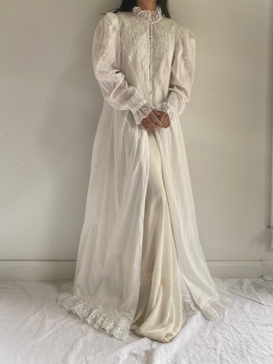 Vintage Cotton Mutton Sleeve Dressing Gown - S/M