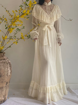 1970s Cotton Poet Sleeve Dress - S