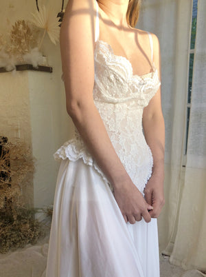 Vintage White Lace Negligee - S